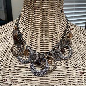 Beautiful textured circle and bead drop necklace